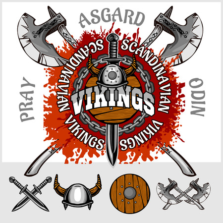 asgard: Viking emblem and logos plus isolated elements for custom designs on light background