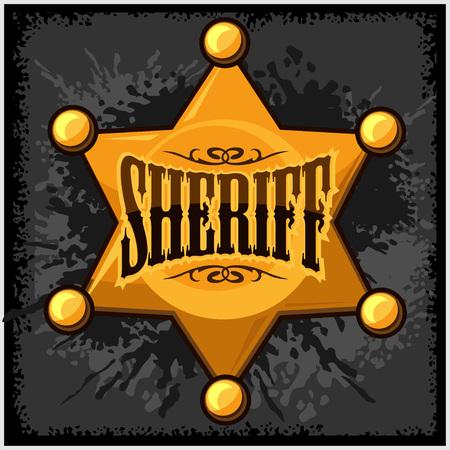deputy: Golden sheriff star badge vector illustration isolated on grunge background