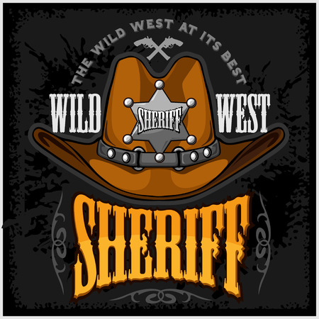 rodeo cowboy: Cowboy hat and sheriffs star - vector badge and emblem on dark background