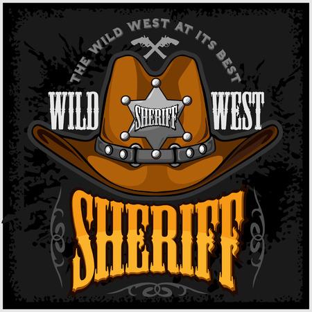 rodeo americano: Sombrero de vaquero y sheriffs estrellas - insignia del vector y emblema sobre fondo oscuro