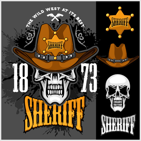 skeleton cartoon: Cowboy Skull in the Hat and Sheriffs star on grunge background
