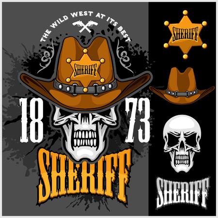 calavera caricatura: Cráneo del vaquero en la estrella del sombrero y del Sheriff en el fondo del grunge Vectores