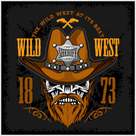 sheriffs: Cowboy Skull in the Hat and Sheriffs star on grunge background