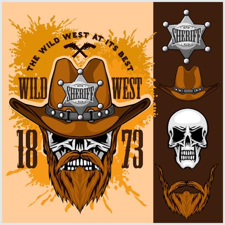 calavera caricatura: Cr�neo del vaquero en la estrella del sombrero y del Sheriff en el fondo del grunge Vectores