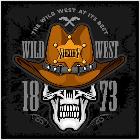 cowboy cartoon: Cowboy Skull in the Hat and Sheriffs star on grunge background