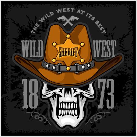 vaquero: Cráneo del vaquero en la estrella del sombrero y del Sheriff en el fondo del grunge Vectores