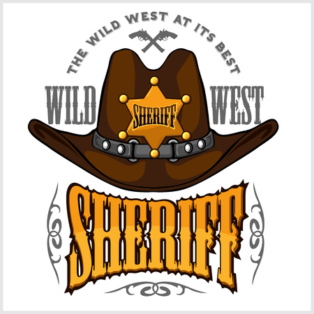 Cowboy hat and sheriffs star - vector badge and emblem on white