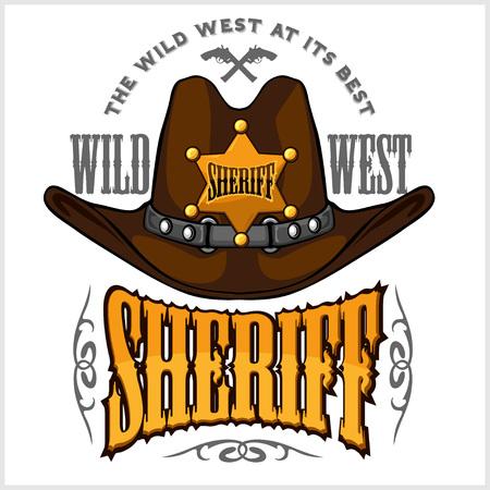 hombre con sombrero: sombrero de vaquero y comisarios estrella - vector insignia y emblema en blanco
