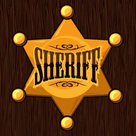 deputy: Golden sheriff star badge vector illustration isolated on wooden background Illustration