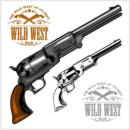 six shooter: old American colt revolver with emblem wild west on white Illustration
