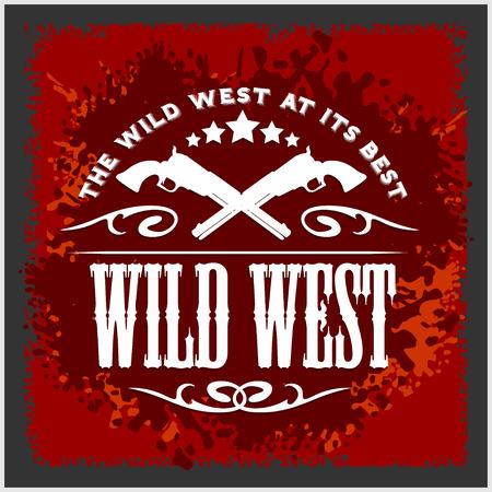 野生の西、男の子服ビンテージ ベクトルのアートワーク、別のレイヤーにグランジ効果