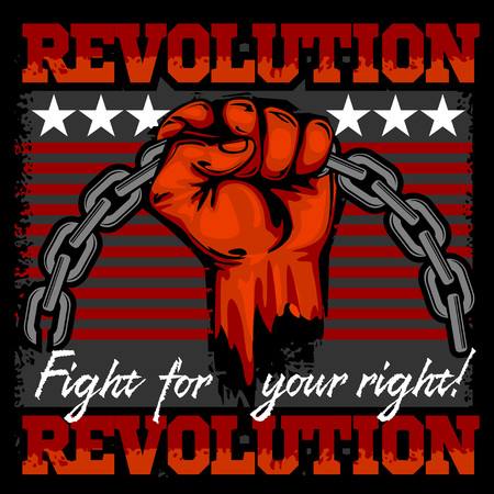 fist fight: Fist of revolution. Human hand up. Revolution - Fight for your right.