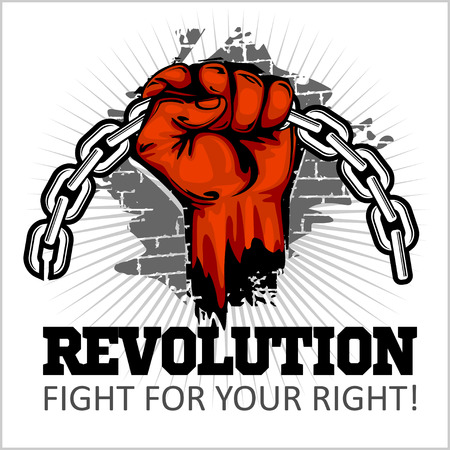 protest design: Fist of revolution. Human hand up. Revolution - Fight for your right.