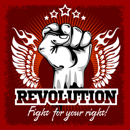 Fist of revolution. Human hand up. Revolution - Fight for your right.