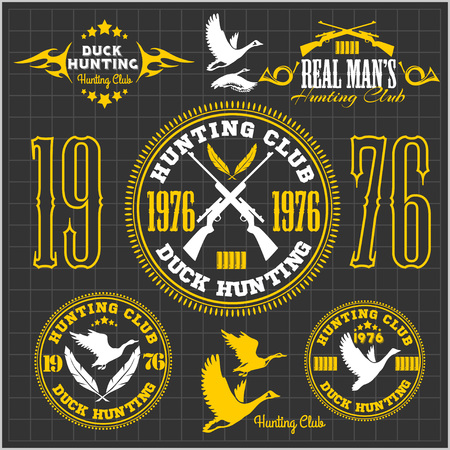 hunting: Duck Hunting - vector set for hunting emblem