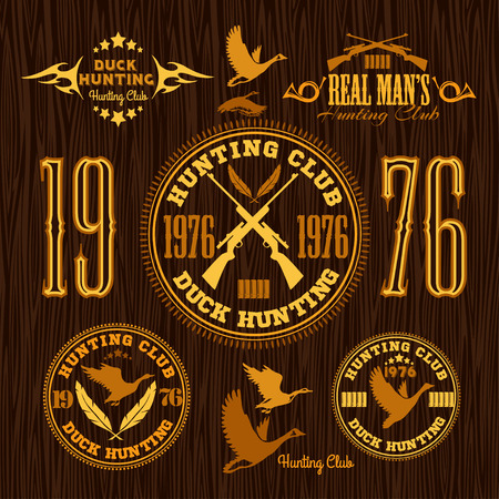 duck hunting: Duck Hunting - vector set for hunting emblem