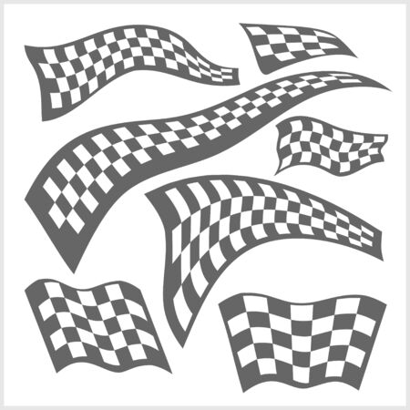 chess set: Checkered Racing Flags - vector set on white