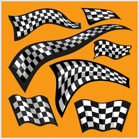 chess set: Checkered Racing Flags - vector set on yellow Illustration