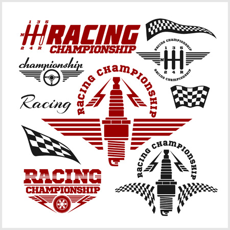 hot rod: Set of car racing emblems and championship race vector badges