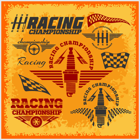 car race: Set of car racing emblems and championship race vector badges