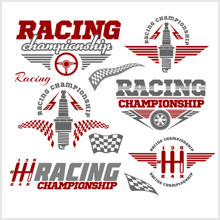 sign: Set of car racing emblems and championship race vector badges