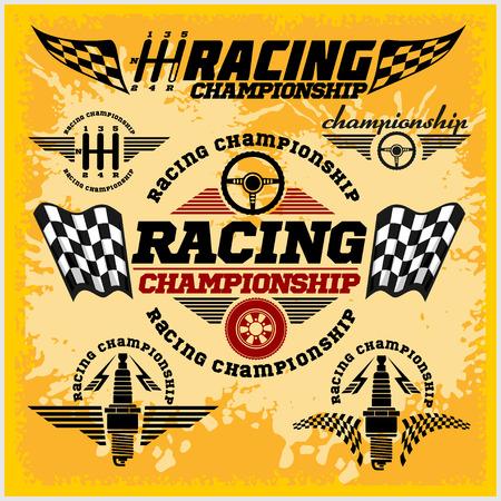 silhouette voiture: Définir des emblèmes de course de voiture et course de championnat badges vectorielles Illustration