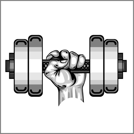 hand with dumbbell: Heavy dumbbell in hand isolated on white
