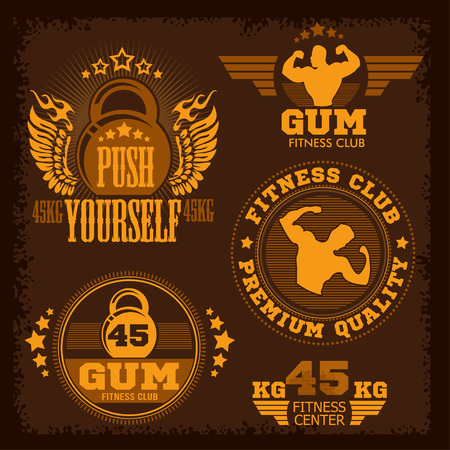 athletic type: Fitness bodybuilding vintage label for flayer poster logo or t-shirt print with lettering