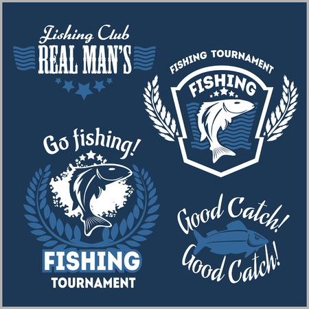 sportfishing: Fishing emblems, badges and design elements - vector set