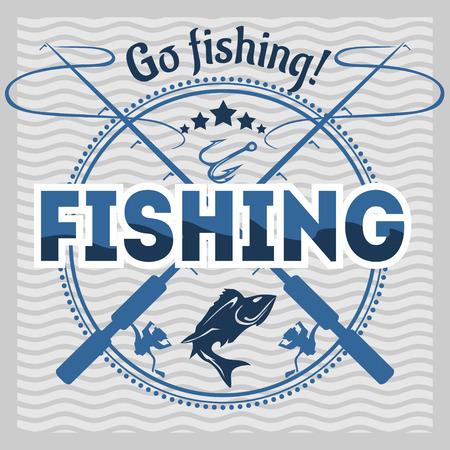 Fishing emblem, badge and design elements - vector illustration Ilustracja