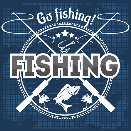 Fishing emblem, badge and design elements - vector illustration Illustration