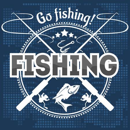 Fishing emblem, badge and design elements - vector illustration Vettoriali