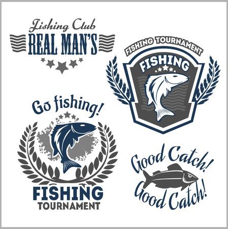 sportfishing: Fishing emblems, badges and design elements - vector set
