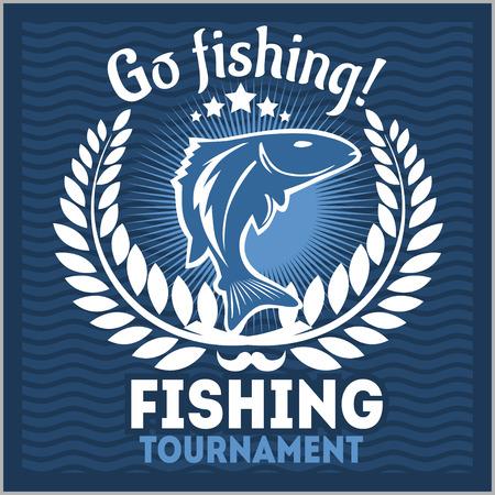 Fishing emblem, badge and design elements - vector illustration Illustration