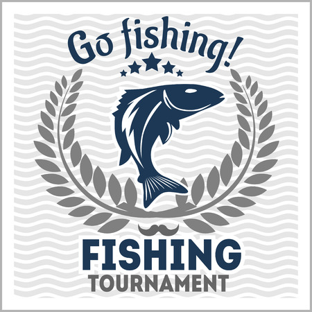 logo de comida: Pesca emblema, insignias y elementos de dise�o - ilustraci�n vectorial