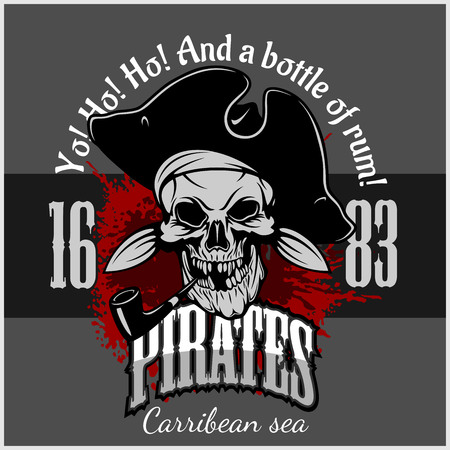 pirate hat: Pirate with pirate hat and pipe - grunge poster Illustration