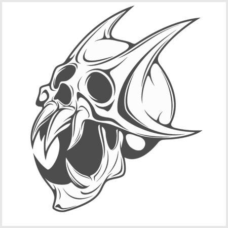 devil's bones: Horned scary Skull isolated on white background