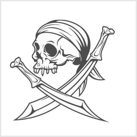 Pirate Skull in Headband with Cross Swords on white background. Illustration
