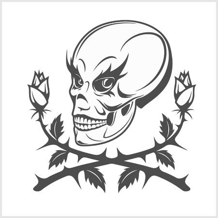 clowns: Joker - clown skull isolated on white background Illustration