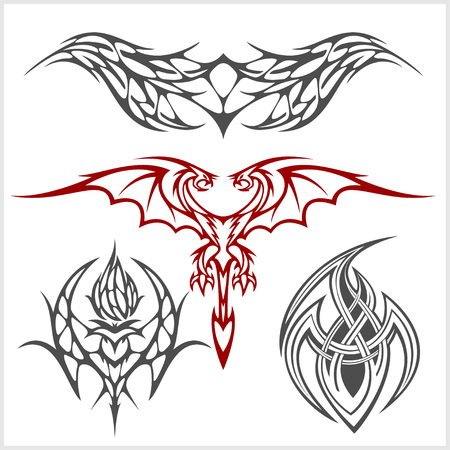celtic tattoo: Symmetric tattoo set in tribal style on white background