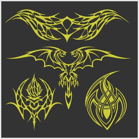 Symmetric tattoo set in tribal style on dark background