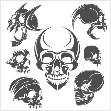 death: Set of skulls isolated on white. Vector illustration. Illustration
