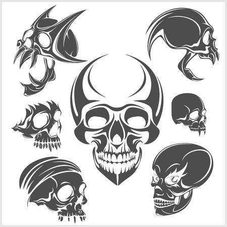 Set of skulls isolated on white. Vector illustration. Illustration