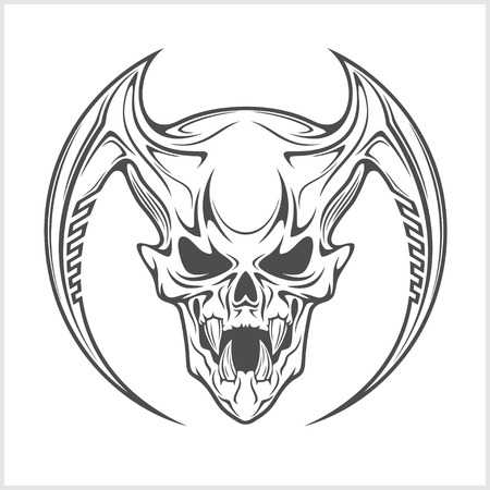 Demon scary Skull isolated on white background  イラスト・ベクター素材