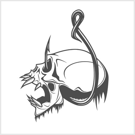 fishing club emblem with skull on a fishing hook Vectores