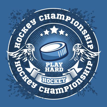 cross match: Hockey championship logo label. Vector sport logo design