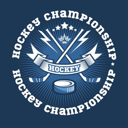 cross match: Hockey championship logo labels on shield with two crossed hockey sticks. Vector sport logo design