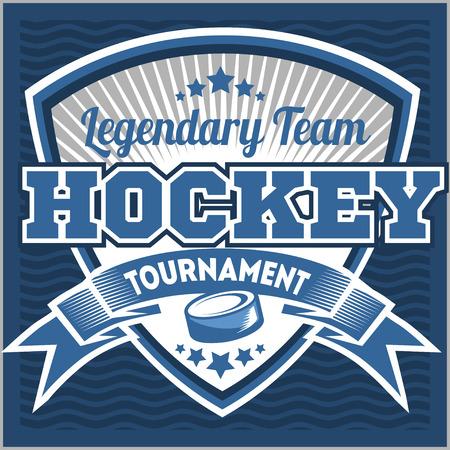 Hockey sport team logotype template. Hockey team logo template. Hockey emblem, logotype template, t-shirt apparel design. Sport badge for tournament or championship. Vettoriali