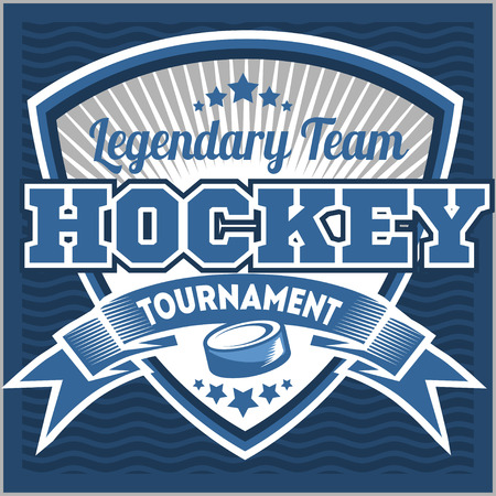 hockey players: Hockey sport team logotype template. Hockey team logo template. Hockey emblem, logotype template, t-shirt apparel design. Sport badge for tournament or championship. Illustration