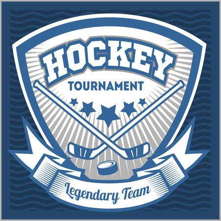 hockey sobre hielo: Hockey deporte plantilla del equipo logotipo. Hockey plantilla logotipo del equipo. emblema del hockey, plantilla de logotipo, diseño de ropa de la camiseta. insignia del deporte para torneo o campeonato. Vectores